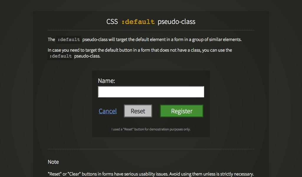 :default pseudo class css